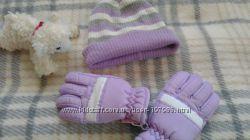 Шапочка и перчатки для девочки 4-6 лет