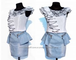 Суперцена. Классная джинсовая юбка. Баска. Новая. Все р. 25-30