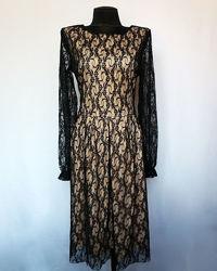 Стильное платье, черный гипюр. Новое, р-ры 42-50