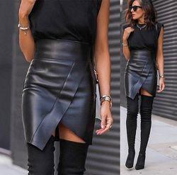 Асимметричная юбка экокожа  Terry