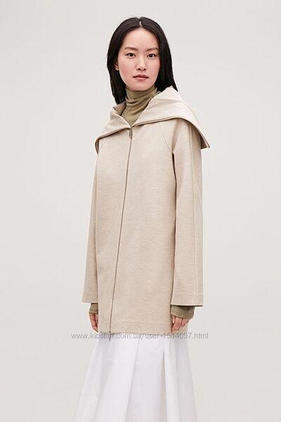 COS тренч на молнии с большим воротником плащ пальто куртка вискоза шерсть