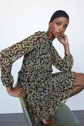 Новое платье мини на пуговицах с длинными рукавами в цветочный принт от H&M