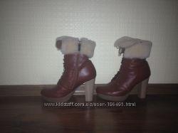 Ботинки на натуральной овчине, 39р. по стельке 25, 5 см, кожаные