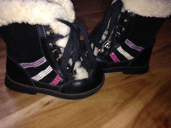 Зимние кожаные ботинки Lapsi  состояние новых