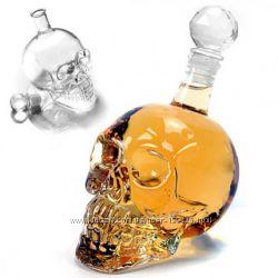 Графин и стакан в форме черепа с пробкой маленький и большой 0, 7л