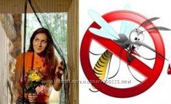 Антимоскитная сетка штора на дверь на магнитах, крепление кнопки и липучки