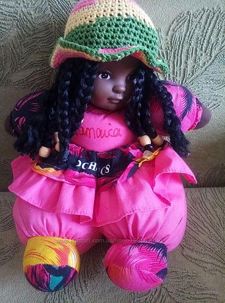 Кукла мягкая чернокожая из Ямайки