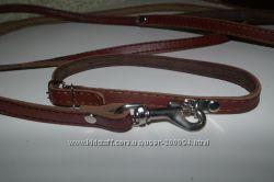 ошейник и поводок для маленькой собачки кожаный двойной простроченный