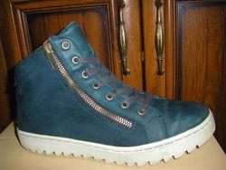 Удобные ботинки бутылочного цвета, кеды с мехом