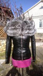 Куртка с воротником из мехом чернобурки