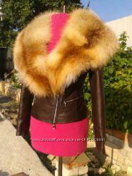 Куртка косуха с воротником из натурального меха лисы