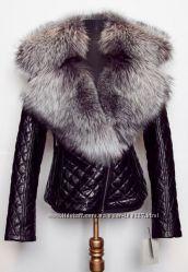 Куртка стеганная из натуральной кожи и воротником под заказ