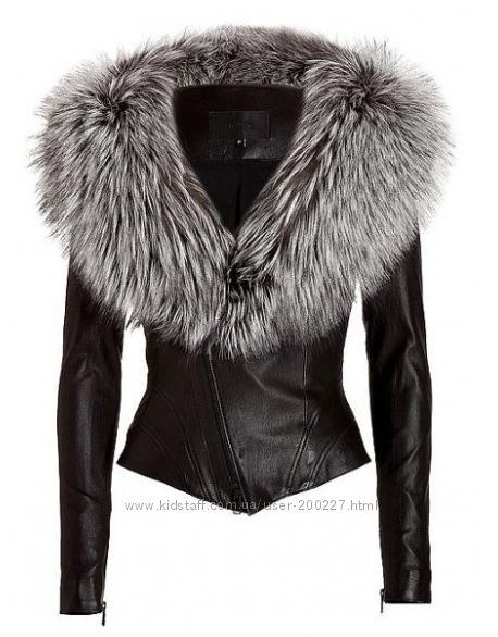 Куртка косуха с мехом чернобурки в наличии и под заказ