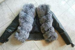 Куртка стеганная с мехом чернобурки