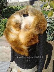 Куртка косуха стеганая из натуральной кожи и воротником из лисы