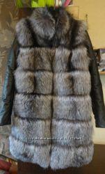 Куртка - жилет трансформер из натурал меха чернобурки в наличии и под заказ