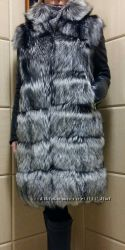 Куртка - жилет трансформер из натурального меха чернобурки  в наличии