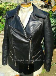 Куртка косуха стеганая из натуральной кожи копия бренда Balmain