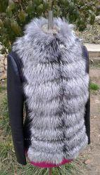 Куртка трансформер из натуральной кожи и натуральным мехом чернобурки