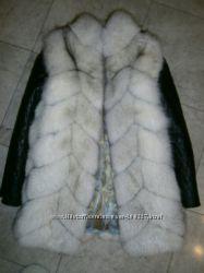 Шикарный жилет трансформер из натурального меха песца и натуральной кожей