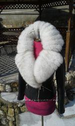 Шикарная куртка из натуральной кожи и натуральным мехом песца