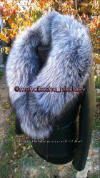 Шикарная куртка из натуральной кожи и натуральным воротником шаль
