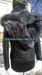 Шикарная куртка с капюшоном из натуральной кожи и мехом чернобурки
