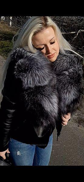 Куртка из натуральной кожи и воротником из финской чернобурки