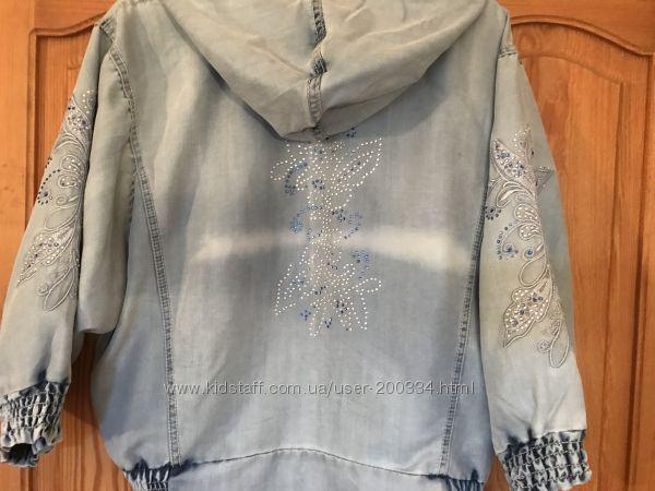 Новая джинсовая куртка со стразами Турция