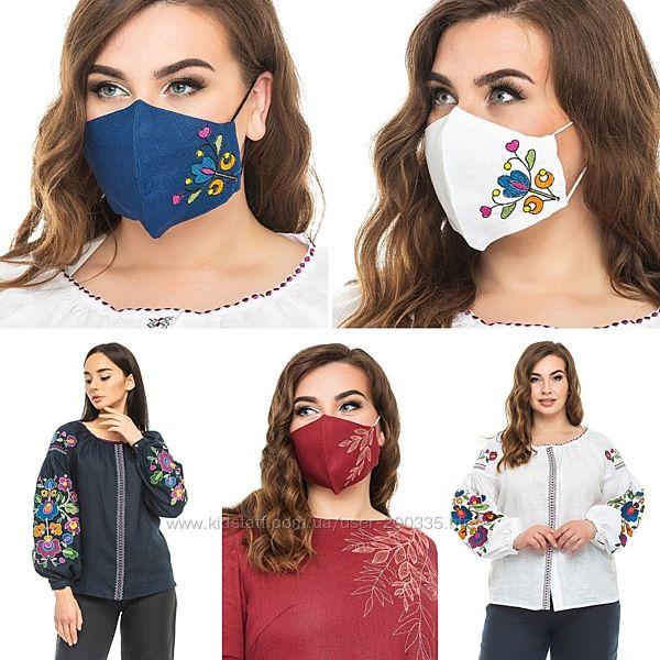 Вышитые защитные маски на льне