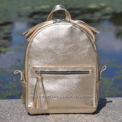 Кожаный яркий рюкзак Meri золото