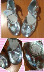 Туфельки нарядные туфли Серебро, белый, розовый. Размеры 23-27, 29, 32