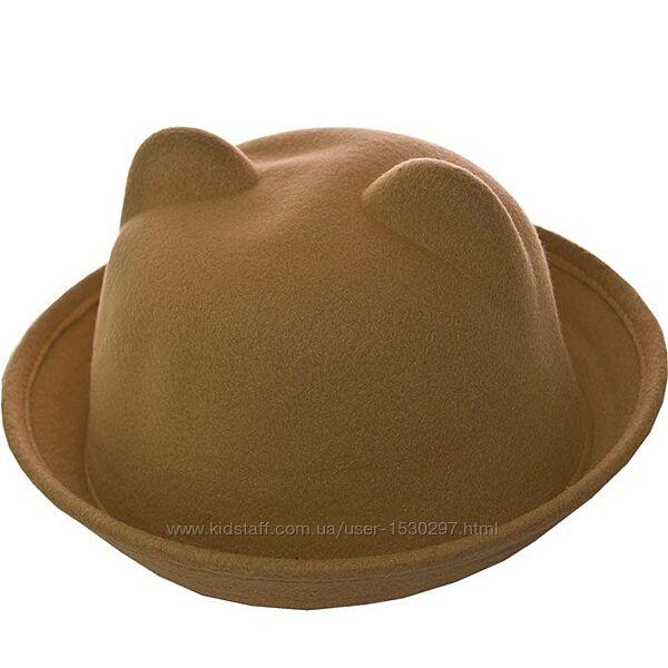 Шляпка фетровая с ушками 52-54, 55-58
