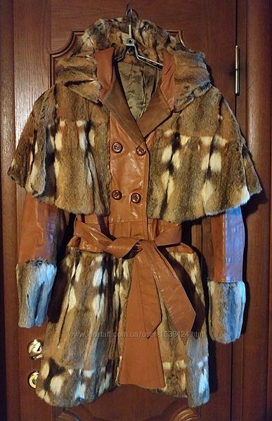 Кожаное пальто с нат. мехом. S. Демисезон.