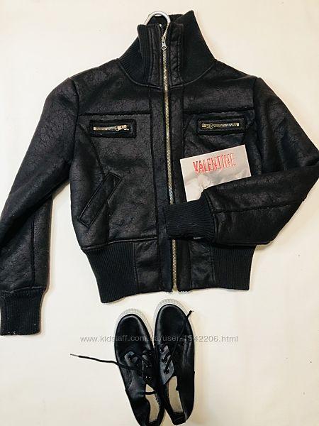 Тёплая дубленка короткая на резинке бомбер куртка на меху Moda Internationa