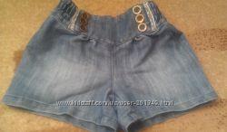 Стильные джинсовые шорты на модницу 5-6 лет, рост 116 см