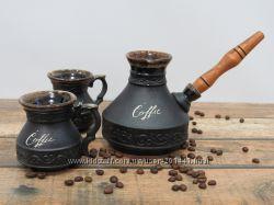 Керамическая турка для кофе 400 мл и две чашки