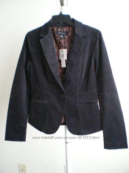 Calvin Klein Дорогой пиджак из США р S-M вельвет черный, подкладка леопард