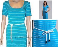 Платье Calvin Klein из США р L - Стильное яркое голубое летнее в полоску