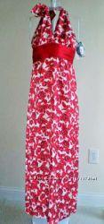 Шелковое макси платье красные белые розы FOREVER, Calvin Klein, SPIGEL  S M