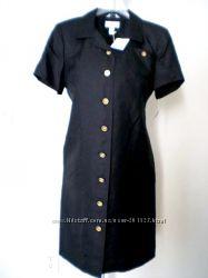 Шёлк дорогое черное платье золотые пуговки TALBOTS USA, Calvin Klein p M, L