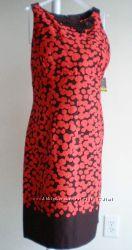 Дорогое котоновое платье красное Taylor, Calvin Klein, Anne Klein  р L, XL