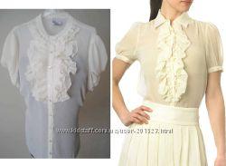 Белая шифоновая блузка - натуральный состав - р  L, XL