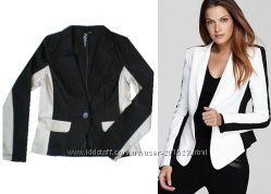 Коттоновый стильный пиджак со стрейчем из США черно бежевый, р S, M