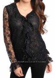 Гипюровые нарядные блузки черные и белые, размер 44-48,