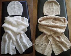 Набор Комплект шапка и большой шарф Н&М США - белый, бежевый, синий