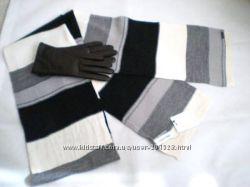 Сalvin Кlein - стильный ченый белый серый полосатый шарф, оригинал из США