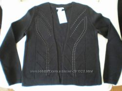 Красивый чёрный кардиган кофта в кожаным плетением H&M из США. Размер S, М