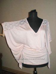 Нежная розовая трикотажная фирменная блузка из США. размер М и Л