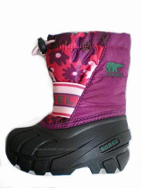 Непромокаемые зимние термо сапоги ботинки Sorel США на девочку, р 21, 22